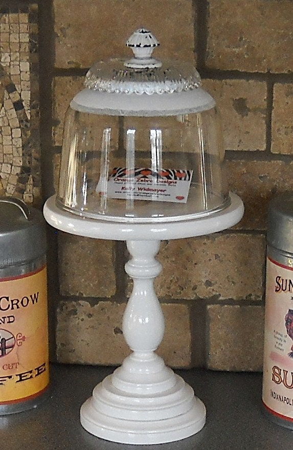 Glass Covered Wood Dessert Stand Dome And Pedestal Cupcake
