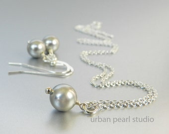 Gray Bridesmaids Jewelry Sets, Gret Pearl Necklace Earrings Set, Grey Bridal Jewelry, Pearl Drop Necklace