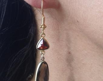 Fire and Smoke: Garnet and Smoky Quartz dangle earrings; Garnet and Smoky garnet bezeled gemstones