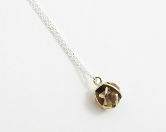 3D printed gold ball pendant on a sterling silver chain, fine geometric necklace - Negative/Positive pendant
