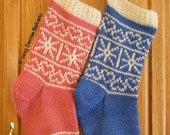 Hearts & Snowflakes Christmas Stocking PDF knitting pattern