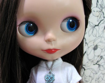 Owl Necklace - Silver with Blue for your BlytheStar