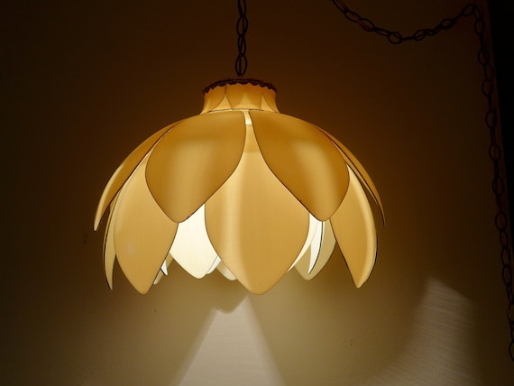 Lotus Swag Lamp Mid Century Tulip Flower Shade Pendant Light