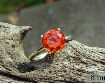 Orange Sapphire Ring, Sterling Silver Ring with Padparadscha Sapphire, Bridesmaids Gifts, Engagement Ring