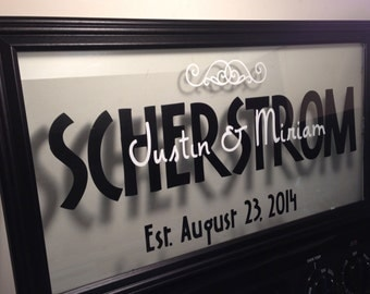 Personalized Wedding Name Sign with Date - 10x20
