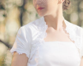 Bandeau Birdcage Veil with Sequins and beads--available in ivory or white