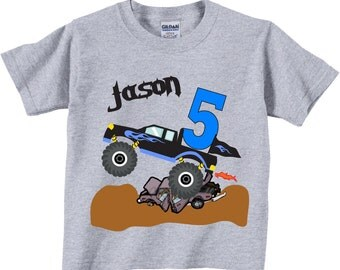 5th Birthday Shirts with Monster Truck for Boys Tees