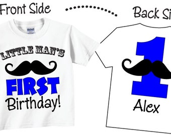 Little Man's 1st Birthday Shirts with Mustache in Blue and Black Tees