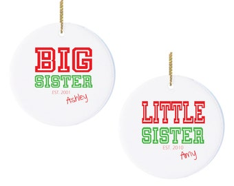 Personalized Christmas Ornaments Big Sister Little Sister with College Lettering