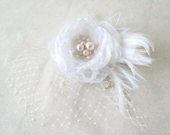 Weddings Hair Accessories Veil Headpiece Bridal White Organza Flower Pearls Feathers Veil Bride Hair Accessories Flower Girl Bridesmaid Hair