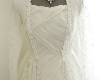 Unique 1950 Lace Wedding Gown from England with Criss Cross Lattice Front Panel