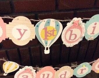 Hot Air Balloon Birthday Banner hot air balloon party theme