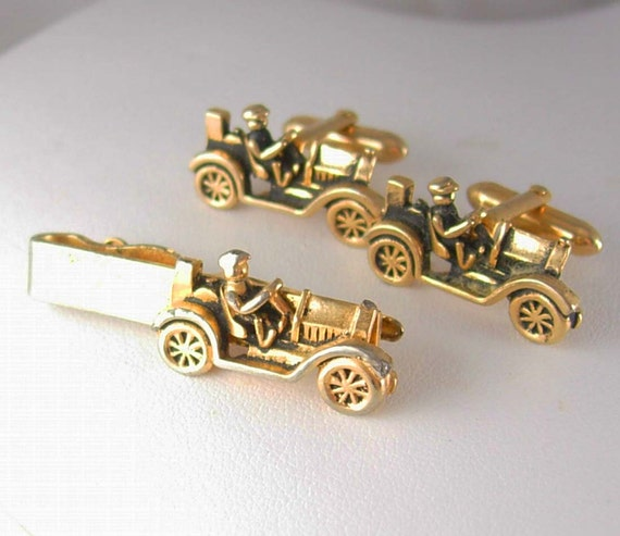 Antique car truck cufflinks vintage swank gold tie clip set for What is swank jewelry