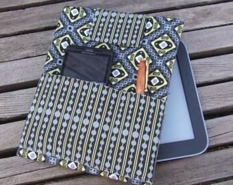 eReader Sleeve - handmade tablet holder - Nook Color sleeve - Kindle Fire case - iPad mini sleeve - travel case accessory - groovin' in grey