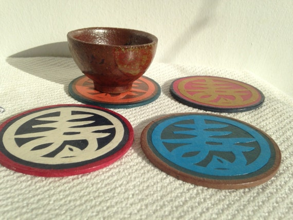 "Hanji Paper Coasters, Traditional Chinese Character ""Longevity"", HANDMADE Zen Great Gift Zen Decor (set of 4)"