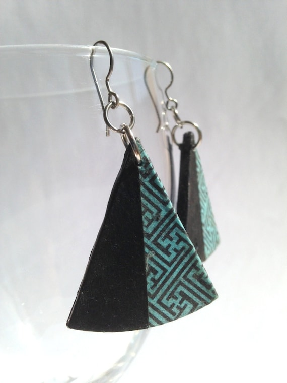 Triangle Blue Black Hanji Paper Dangle Earrings OOAK Handmade Swastika design Hypoallergenic hooks Lightweight