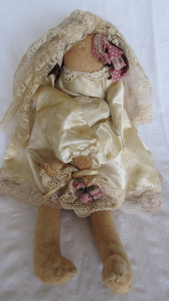 Vintage Attic Baby Virtuous Virgie Marty Maschino Tea Stained