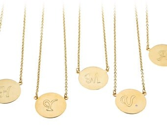 Gold initial necklace Personalized Disc Necklace Gold Letter Charm necklace Monogram Dainty Chain Gold filled jewelry.