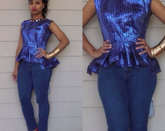 ON S A L E : Blue Flock Peplum Top w/ neckline detailing Small/Medium