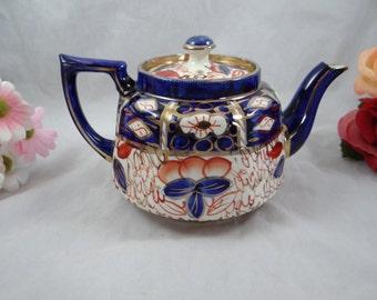 Rare 1930s Vintage Hand Painted Gaudy Japan Price Bros. English Bone China Tea Pot