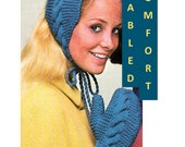 Digital Download Knitted Cables Earwarmer and Mittens Pattern - Retro PDF Knitting Supplies Knitting Patterns