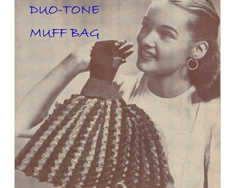 Digital Download 1940's Crochet Muff Bag Pattern from Rare Old Peter Pan Bags Booklet - Craft Supplies Crochet Supplies