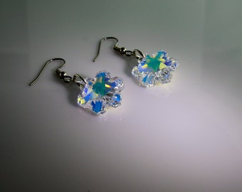 Snowflake earrings Swarovski Crystal Aurora Borealis on sterling silver 925, surgical steel hooks, hypoallergenic, Snowflake crystals