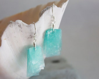 Beachy Ocean Translucent Waterfall Earrings on Sterling Silver French Ear Wires