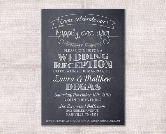 Wedding Welcome Dinner Invitation Wording: Wedding Reception Celebration After Party Invitation Custom