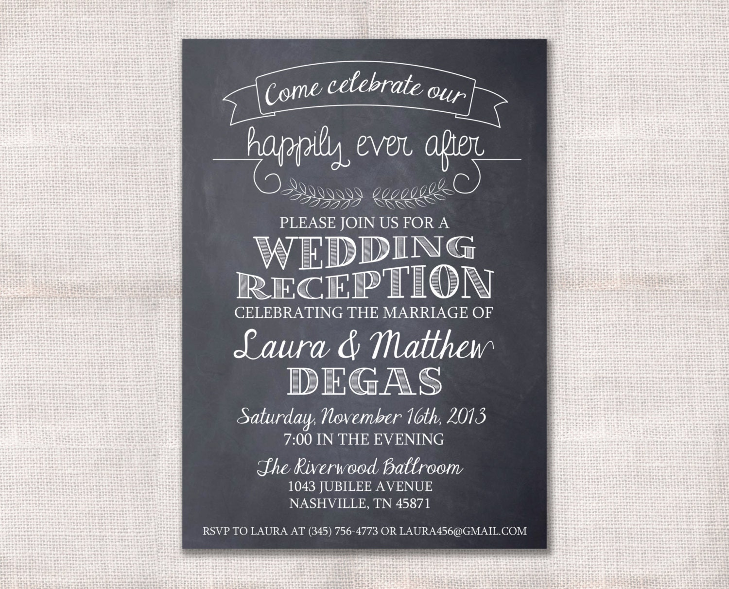 Wedding reception celebration after party invitation custom for Wedding engagement party invitations