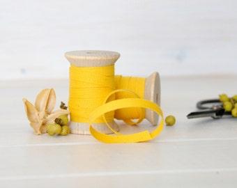 "Marigold Cotton Ribbon - 5, 20 or 109 Yards - 100% Cotton Ribbon - 1/4"" Wide - Eco Friendly Yellow Ribbon - Marigold Cotton Ribbon Bulk"