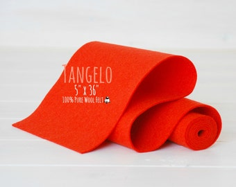 "100% Merino Wool Felt Roll - 5"" x 36"" Wool Felt Roll - Wool Felt Color Tangelo-5110 - European Wool Felt - Dark Orange Merino wool Felt"