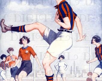 Female FUTBOL Player!  Art Deco Vintage Flapper Digital Illustration. Deco Flapper Digital Printable Image Download. Deco Digital Print