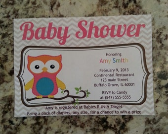 Printable Girl Owl Baby Shower Invite