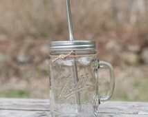 Large 24oz Handled Mason Jar To Go Cup With a Stainless Steel Straw Eco Friendly