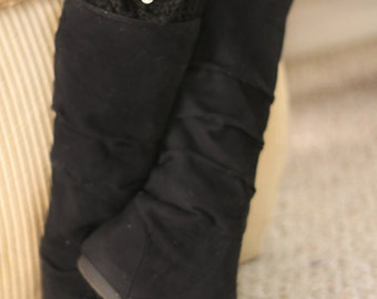 Black Boot Cuffs with Bows and a Rhinestone