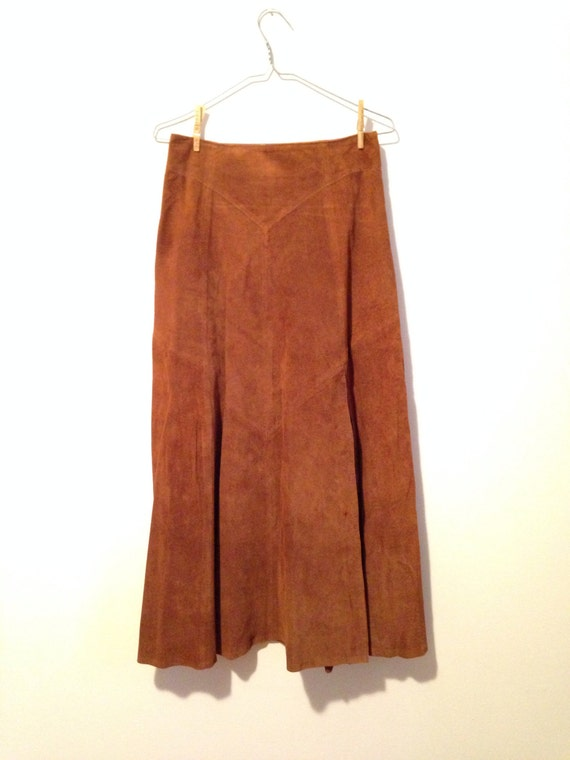 The Saloon Brown Suede Maxi Skirt High Waist Small