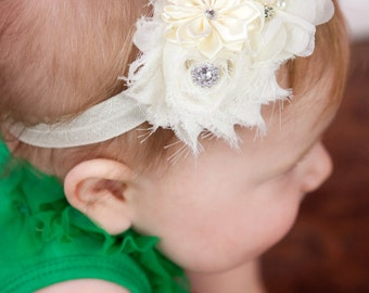 Ivory  Baby headband, newborn girl fancy satin fabric headband, cream christening