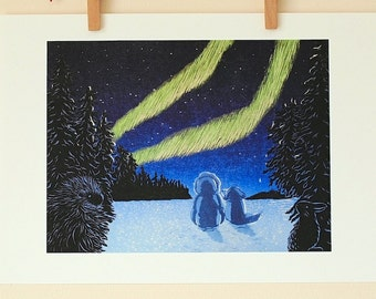 "Giclee print of woodcut print ""What's that Pierce""; watching northern lights with a dog, Pierce"