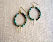 Quartz Earrings, Quartz Crystal Point Beaded Hoop Earring, Gold and Turquoise Jewelry, Beadwork, Beaded Hoop Earring