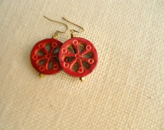 Red Leather Earrings, Stamped Leather Dangle Earrings, Brass and Leather Jewelry, Bohemian Earring, Boho Jewelry