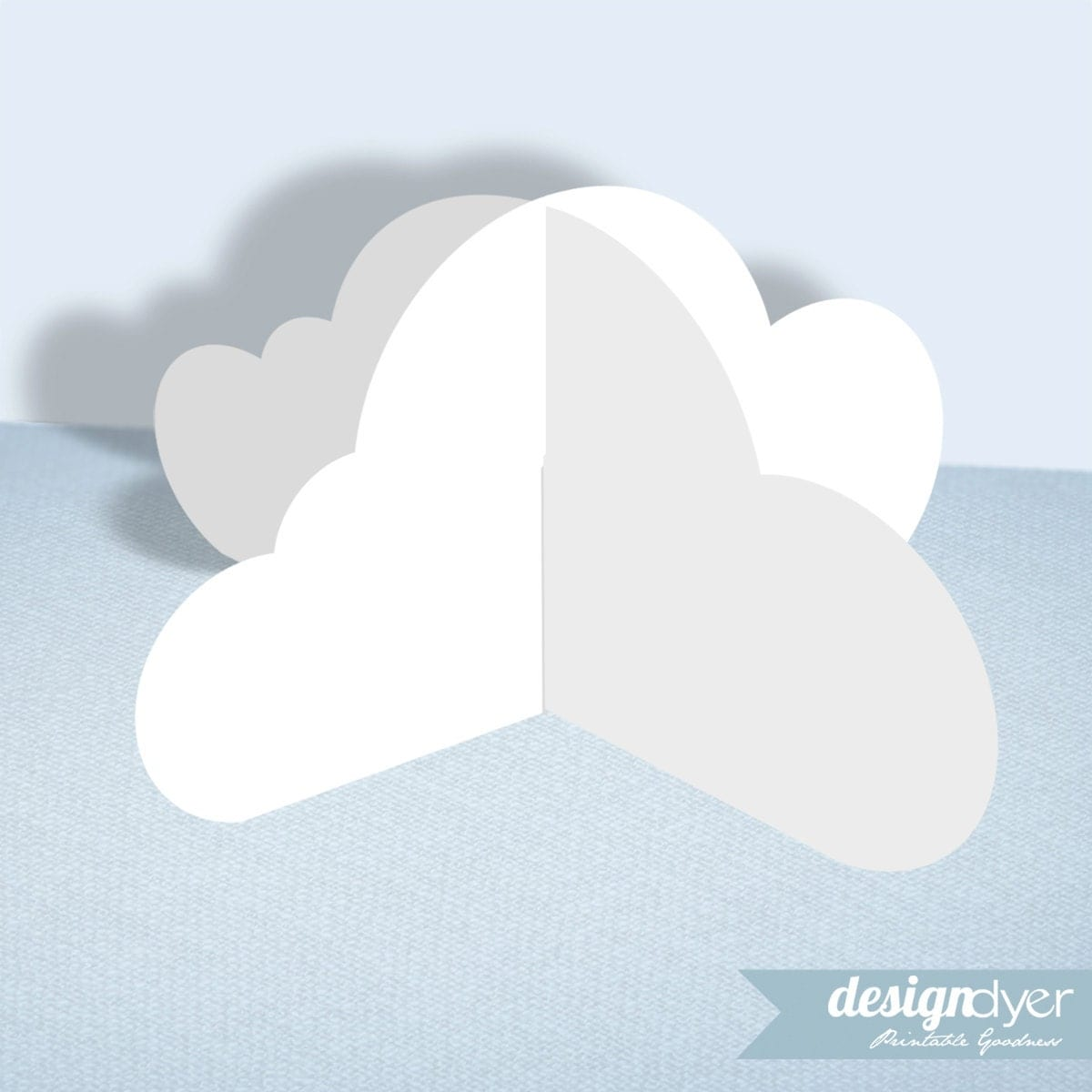 3d cloud printable decoration template. Black Bedroom Furniture Sets. Home Design Ideas
