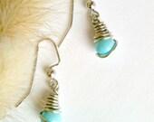 Aqua Blue Earrings, Wire Wrapped Earrings, Handmade