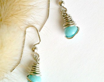 Aqua Blue Earrings, Wire Wrapped Earrings, Handmade