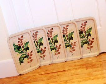 Tropical Trays... 5 Vintage Metal Serving Trays with Tropical Leaves, Faux Bois - Greens and Browns