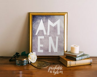 Amen printable christian wall art, printable Scripture bible verse art Print wall art decor poster, inspirational quote typography - digital