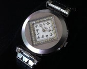Louvic Watch! Amazingly Cool! 17 Jewels Swiss! White Dial! Faceted Crystals Border! Vintage Wrist Watch! 1930s! Art Deco! Working Great!