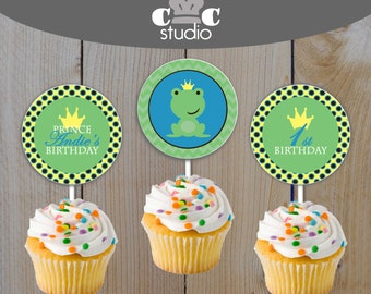 Frog Prince Cupcake Toppers or Stickers - Digital Party Printables for Boy's Birthday or Baby Shower