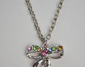 Pink Sparkly Rhinestone Heart Bow Charm Silver Tone Necklace Beau Flutterby