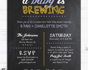 Couples Baby Shower 5x7 Beer Themed Invitation